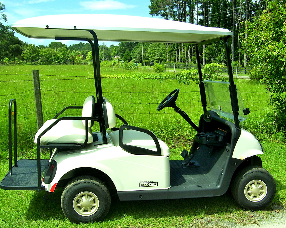White EZGO Golf Cart